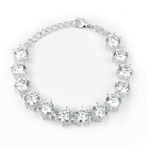 Woman Classic Genuine Round Cut White Fire Topaz Gems Silver Charming Bracelet