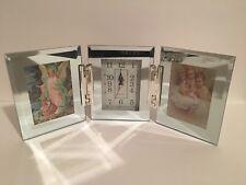Glass Mirrored Tri Fold Photo Picture Frame Clock  3.5 x 5 Photo