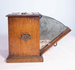 Antique Vintage 20th Century Novelty Oak Perdonium Coal Biscuit Tea Caddy
