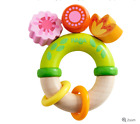 Haba Maple Wooden Wood Toy Baby Clutching Rattle Flower Fantasy Plastic Ring