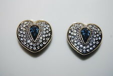 VINTAGE HIGH END PAVE CLEAR RHINESTONES & BLUE STONE LARGE HEART CLIP EARRINGS