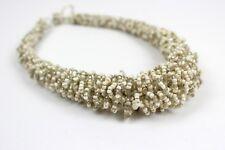 White Beaded Necklace Silver Chunky Choker Collar Style Bib Necklace Masai DB22