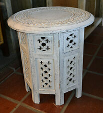 Round Moroccan White Wash lamp table side table bedside