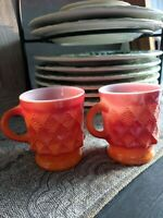 2 vintage Anchor Hocking Fire King Orange Kimberly Diamond Pattern Coffee Mugs