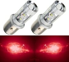 LED 50W BA20d Red Two Bulbs Head Light Off Road Replacement Lamp JDM Style