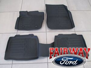 17 thru 20 Lincoln MKZ OEM Ford Tray Style Molded Black Floor Mat Set 4-pc