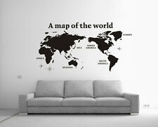 Large World Map Removable Vinyl Wall Sticker Decal Decor Black Au Transfer Sheet