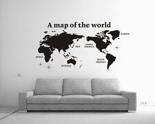 Large World Map Removable Vinyl Wall Sticker Decal Decor Black Au Transfer Sheet
