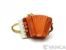 Accordion Handmade Music 3D Leather Key chain ring *VANCA* Made in Japan #56121