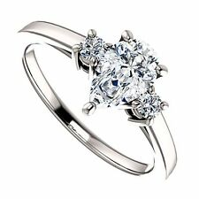 18kt H SI 1.20ct Three-Stone Pear Cut Diamond Engagement Ring Certified