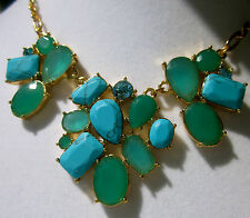 SET! KATE SPADE TURQUOISE BIB CLUSTER FIESTA CRYSTAL NECKLACE EARRINGS BLUE AQUA