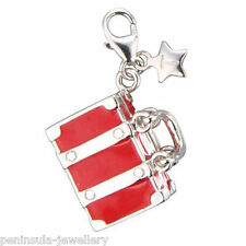 Tingle Suitcase Sterling Silver clip on Charm with Gift Box and Bag