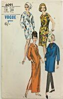 c1950/60's Vintage Sewing Pattern Vogue 6091 Ladies One Piece Dress & Overblouse