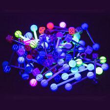 50pk Tongue Nipple Piercing Barbells - 14G UV Glow - 316L Steel and Bioflex