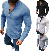 Mens Summer Cotton Linen T Shirt Henley Tops Casual Basic V Neck Long Sleeve Tee