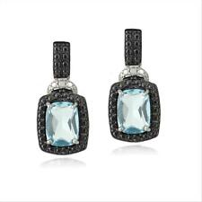 925 Silver 3.8ct Blue Topaz & Black Diamond Accent Rectangle Dangle Earrings
