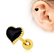 """316L Stainless Steel Gold Plated Black Heart Tragus Cartilage Earring 1/4"""" 16g"""