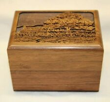 Vintage Lasercraft Solid Walnut Wood Hinged Cabin in the woods Trinket Box USA