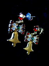 Beautiful Ruby Red/Green/Clear Crystals Bell & Bow Pierced Earrings