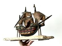 Beautifully Crafted Antique Hand Made Hand Painted Wooden Tall Ship Galleon