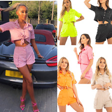 JUSTYOUROUTFIT  715 NEW WOMEN'S  BUTTON FRONT UTILITY SHIRT SHORTS CO-ORD - SET
