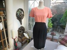 M&S Collection ladies lined classic  fitted dress coral/black classy 10