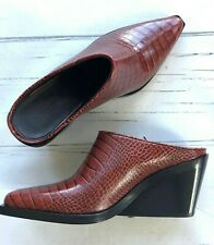 rag & bone size 8 38 Santiago Red Leather Mules Pointed Toe shoes wedge $595