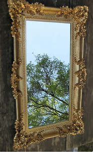 Miroir Baroque Or Italienne Mural Antique Rectangulaire 96x57 Moderne Déco
