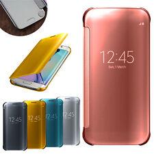 Coque rigide smart miroir brillant à clapet avec veille pour téléphones Samsung