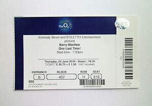 Barry Manilow Tickets - Mint Condition Ticket The O2 London 23/06/16 Memorabilia