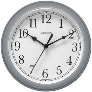 """Westclox Round Gray Wall Clock 9"""" Arabic White Dial 46984A"""