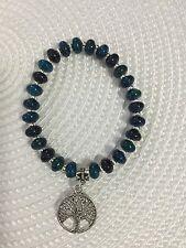 Bracelet 8mm Blue Green Abacus Beads Silver Tone Tree Of Life Charm Bail Boho