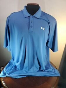 Under armour Polo Mens XXL Polyester Blue  Golf Wicking...