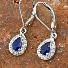 Very Rare Cobalt Blue Spinel Pear & Zircon Platinum/925 Leverback Earrings