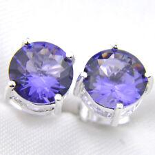Amethyst Gemstone Silver Stud Earrings Classic 8Mm Round Cut Purple