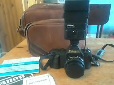 Canon T50 35 MM Camera with 50mm Lens, Flash and Leather Bag