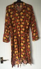 Topshop Yellow Orange 70s Style Floral Shirt Dress Size 12