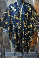 ART TO WEAR GLAM SEQUIN EMBROIDERED SHORT KIMONO JACKET IN GOLD ON BLACK, OS+!