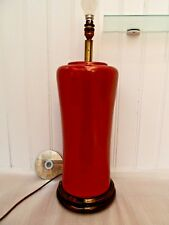 Vintage ORIENTAL TABLE LAMP Retro BIG RED POTTERY LIGHT Antique CHINESE OX BLOOD