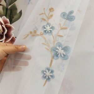 Pastoral Floral Embroidery Mesh Curtain Fabric Voile Window Panel Divider Crafts
