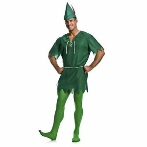 Adult Mens Classic Peter Pan Forest Cosplay Costume Tunic Hat Tights XS S M L XL