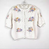 Vintage Jennifer Reed Embroidered Floral Cardigan Sweater Short Sleeve Size M