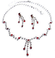 Red Rhinestone Necklace Earring Set 4x Wholesale Jewerly Lot