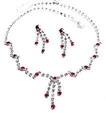 Red Rhinestone Necklace Earring Set 4x Wedding Bridal Wholesale Jewerly Lot Prom