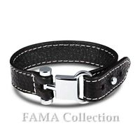 FAMA Black Leather Strap Bracelet w/ Stainless Steel Loop Stud Buckle