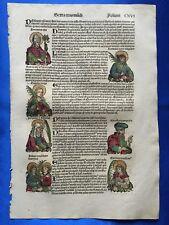 Altkoloriertes Blatt CXVI, Schedel Weltchronik 1493, SCHUTZHEILIGE CECILIA VIRGO