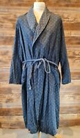 St Michael Marks & Spencer Cotton Men's Blue Patterned Dressing Gown Size Large