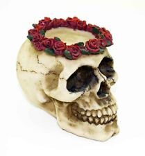 GOTHIC SKULL WITH ROSES TEA LIGHT HOLDER - With Free Tea Light Candle!