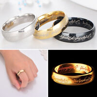 Hobbit Lord of the Rings Gold Silver Black Elvish Rune Engraving Finger Ring