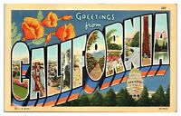 Mid-1900s Greetings from California LARGE LETTER Postcard
